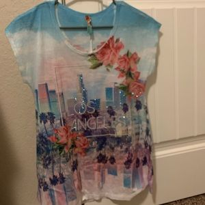 Los Angeles Bedazzled Floral Loose fitting tee